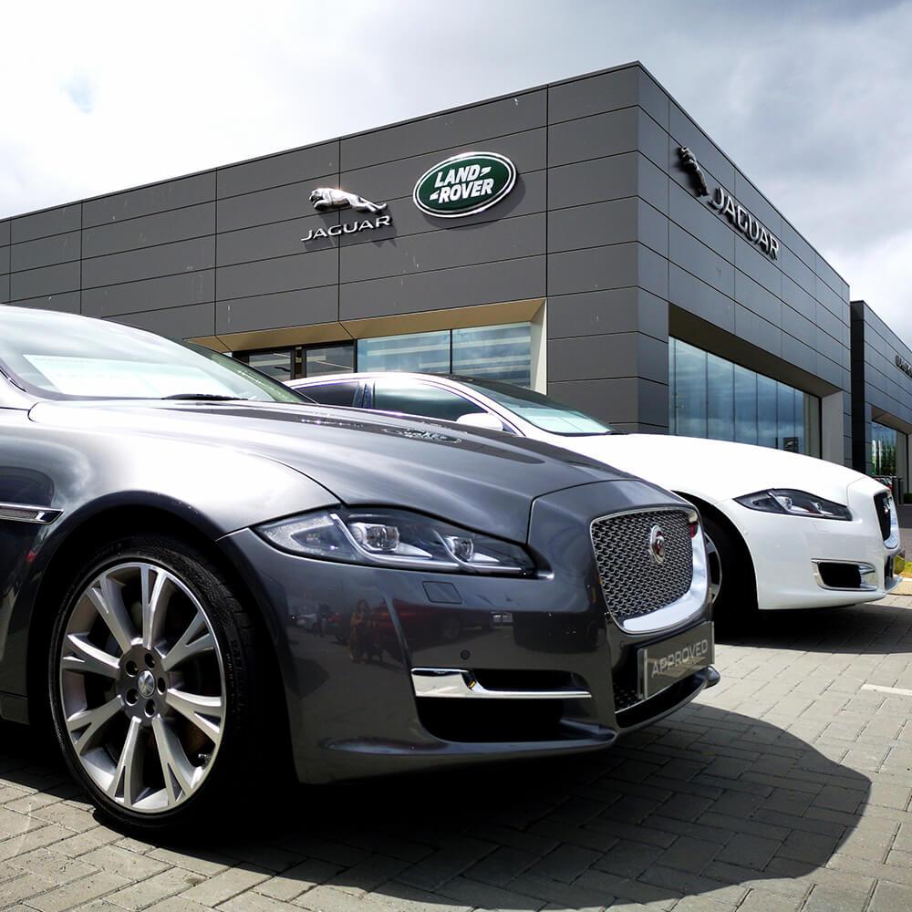 Jaguar landrover car and building